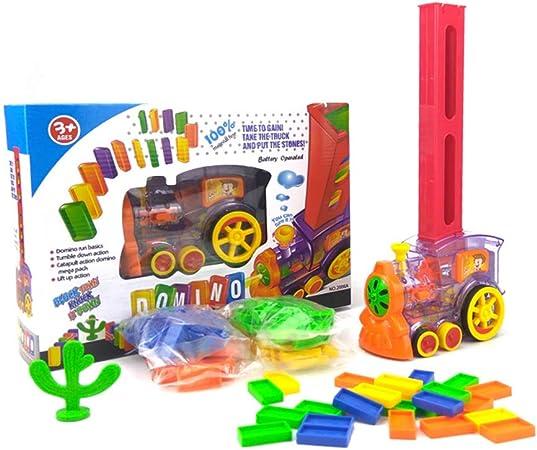 Juego de tren eléctrico de colores para niños, juego de mesa de dominó de trenes de juguete para colocar ladrillos: Amazon.es: Hogar