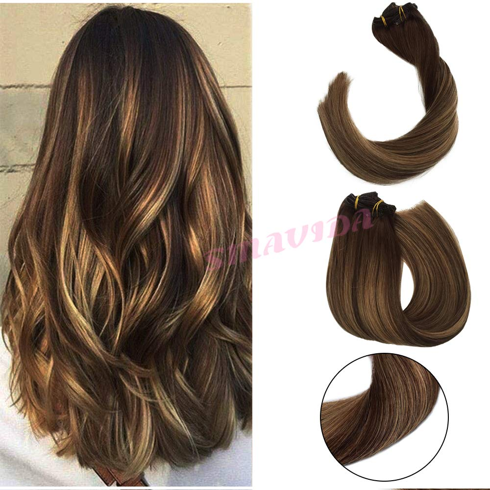 Clip In Human Hair Extensions Double Weft Brazilian Hair 120g 7pcs Balayage color Chocolate Brown to Dark Blonde Highlight Chocolate Brown Full Head Silky Straight Mixed Bleach 22 Inch by Smavida