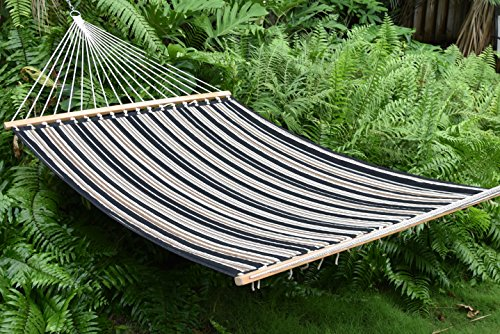 Quilted Hammock and Tribeam Stand (CHARCOAL AND GREY STRIPE WITH TRIBEAM STAND MOCHA)