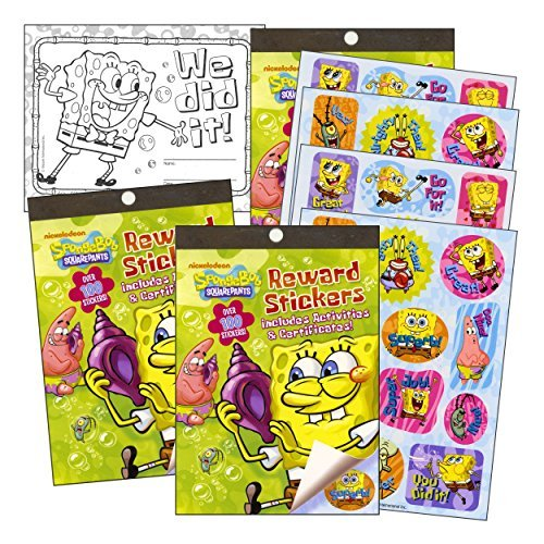 Spongebob Sticker Squarepants - Spongebob Squarepants Reward Stickers & Activity Book Set - 2 Books Over 200 Stickers, Reward Certificates with 2 Bonus Stickers