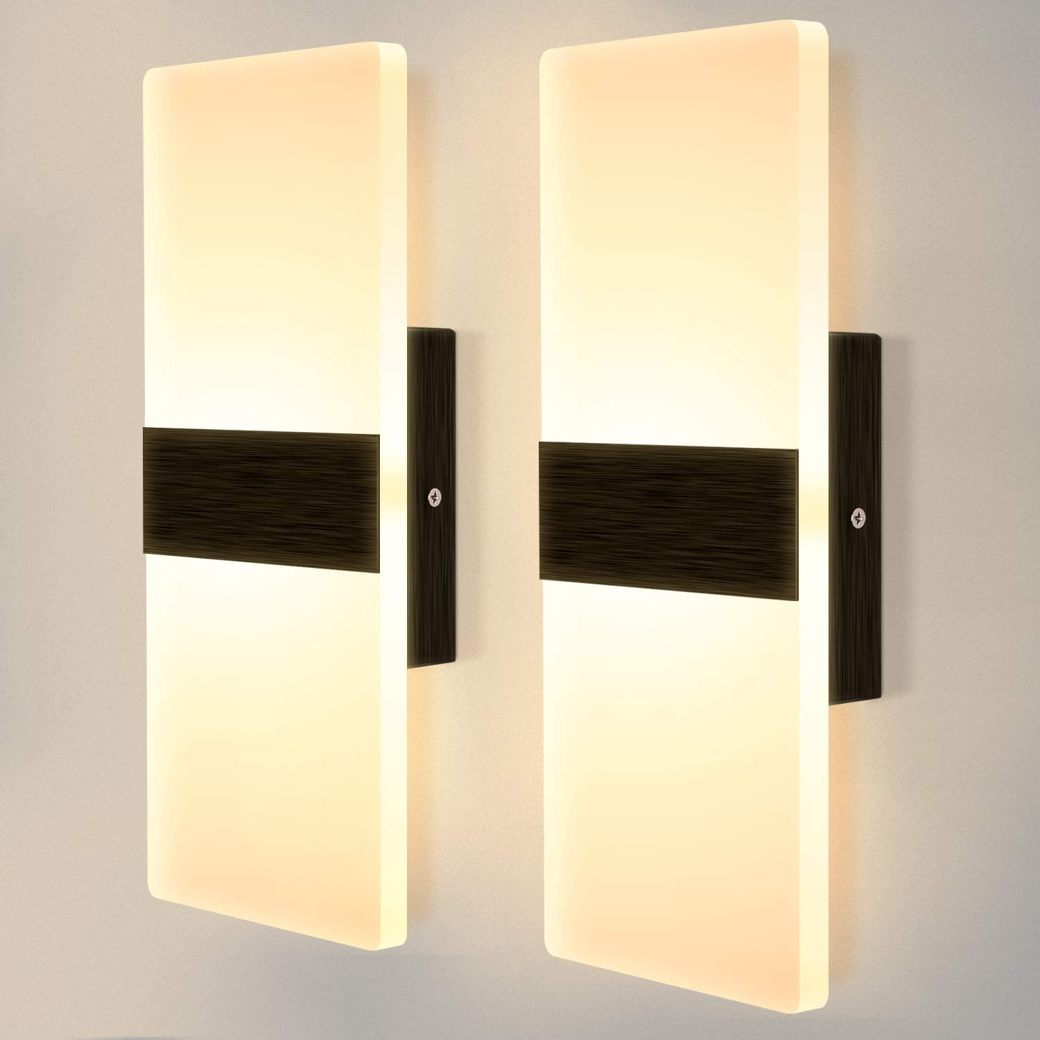 Lightess Modern Wall Sconce Set of 2 LED Wall Lamp 12w Up Down Wall Sconces Light Acrylic Black Hallway Wall Mounted Lamps for Bedroom Hallway Living Room , Warm White