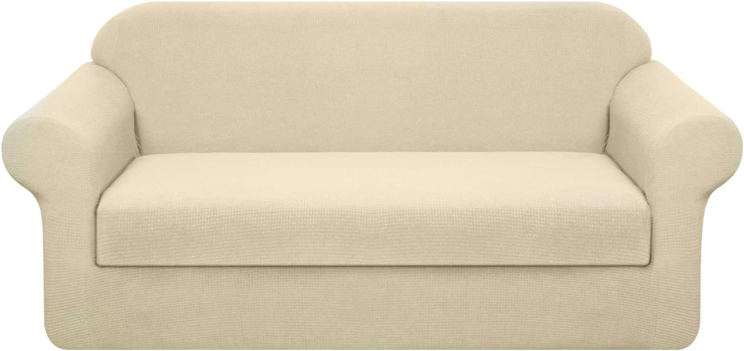 Granbest Stretch Sofa Slipcovers 3 Cushion Couch Covers Water Repellent Pet Furniture Covers Dog Couch Protectors Beige Medium 2 Pieces Home Kitchen Amazon Com