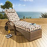 Large Luxury Garden Rattan Sun Lounger / Sunbed / Day Bed Brown/Spotty