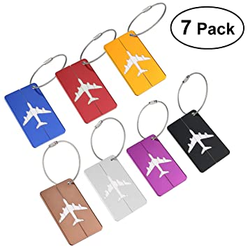 NUOLUX viaje equipaje Tag Maletín equipaje Bag Tag ID viaje Bolso Tag Airlines equipaje etiquetas Pack de 7: Amazon.es: Deportes y aire libre