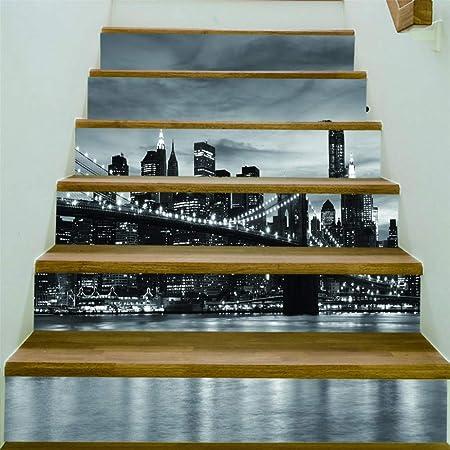 ZXFMTQ 3D Creativo Foto En Blanco Y Negro Escaleras Pegatina Mural Ciudad De Gran Altura Papel Tapiz Decoración Escalera Pegatina Ciudad Costera Escaleras Pegatinas: Amazon.es: Hogar