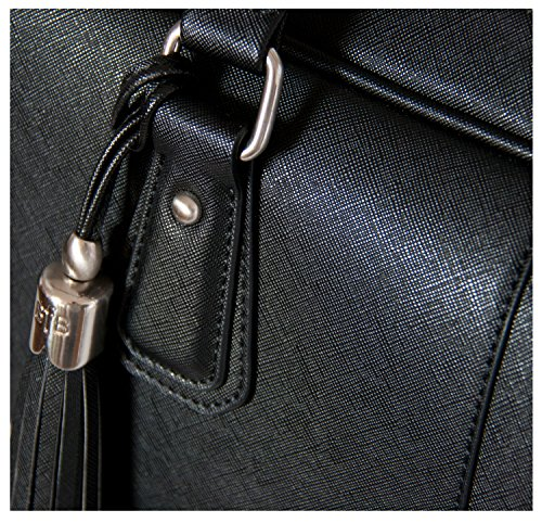 BfB Laptop Bag for Women – Handmade Messenger Computer Bag - 2 Padded Sleeves - Ideal Travel Tote - Black by My Best Friend is a Bag (Image #9)