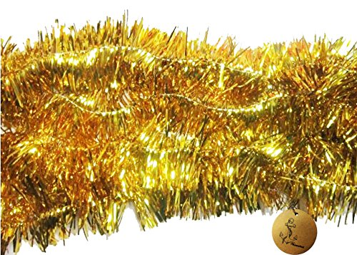 Rimobul Elegant Sparkly Hanging Tinsel Garland- 3 Pcs, 3 Inch X 6 Feet (Gold) (Garland Tinsel Gold)