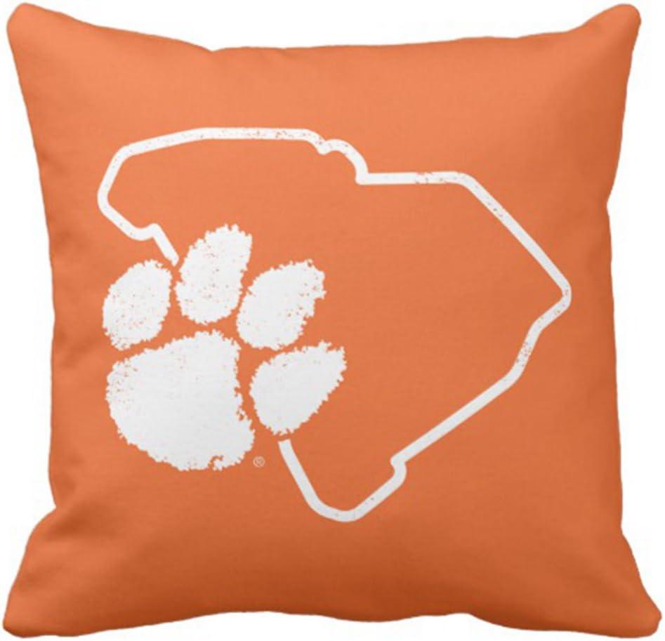 Emvency Throw Pillow Cover Orange Power Vintage Clemson Sc Paw Retro Decorative Pillow Case Home Decor Square 18 x 18 Inch Pillowcase