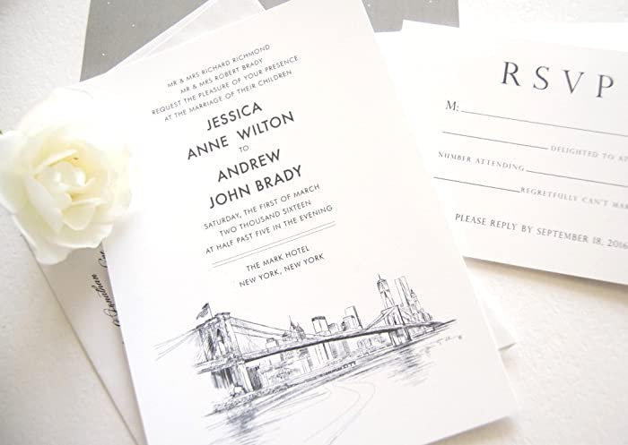 Amazon Com New York City Skyline Wedding Invitations Package Sold