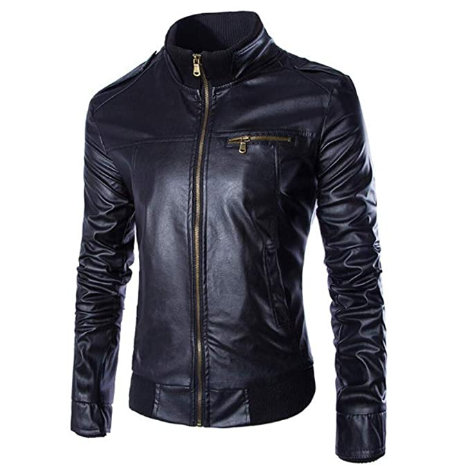 Amazon.com: 2019 😊Men Leather Jacket,Boys Autumn Winter Casual Long Sleeve Solid Stand Zipper Top (M, Coffee): Electronics