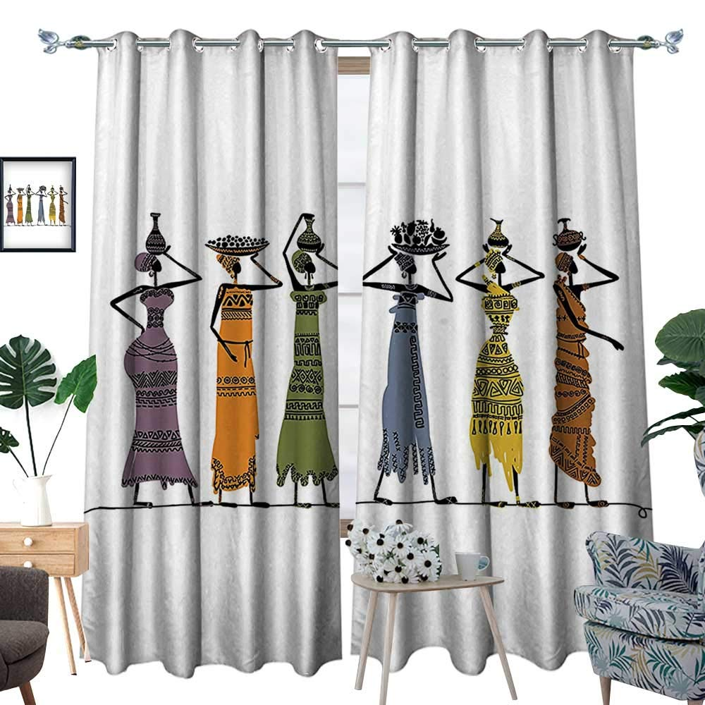 color04 luvoluxhome Blackout Curtain Patio Sliding Door Curtain for Living Room Bedroom Vintage Elegance Lady Carrying Pot Native Grace Savannah Exotic Female Graphic B 108 X72