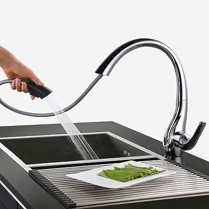 HOMELODY Rubinetto Cucina con Doccetta Estraibile 2 Funzioni Girevole 360 °  Miscelatore Cucina Estraibile Rubinetto Monocomando per Cucina Acqua ...