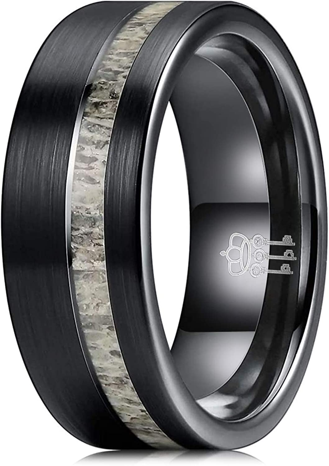 THREE KEYS JEWELRY 8mm Real Antler/Turquoise Inlay Brushed Tungsten Wedding Ring Black Hunting Band for Men