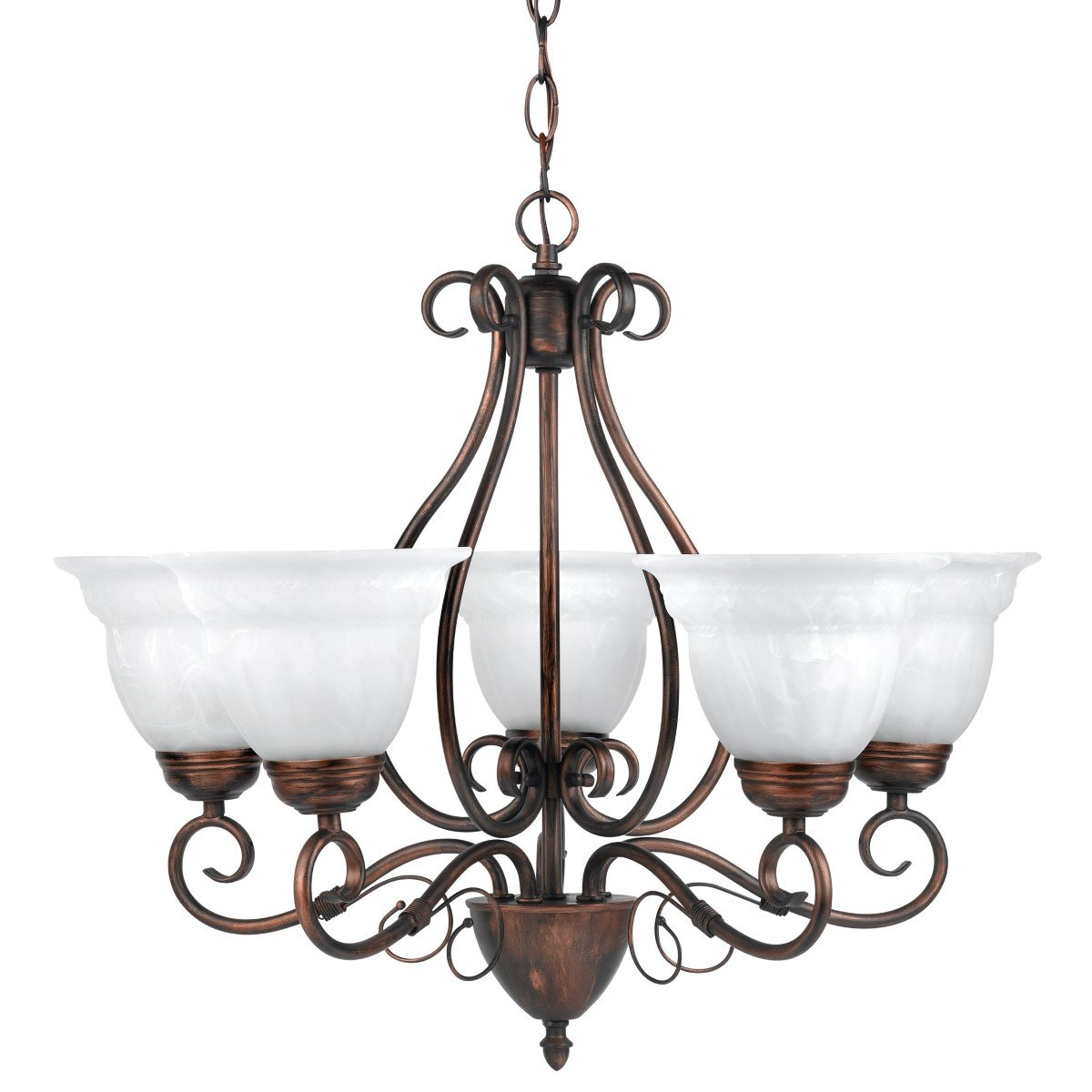 Globe Electric 65573 Beatrice 5 Light Candelier, Large, 22.5'' x 22.5'' x 19.75'', Weathered Bronze