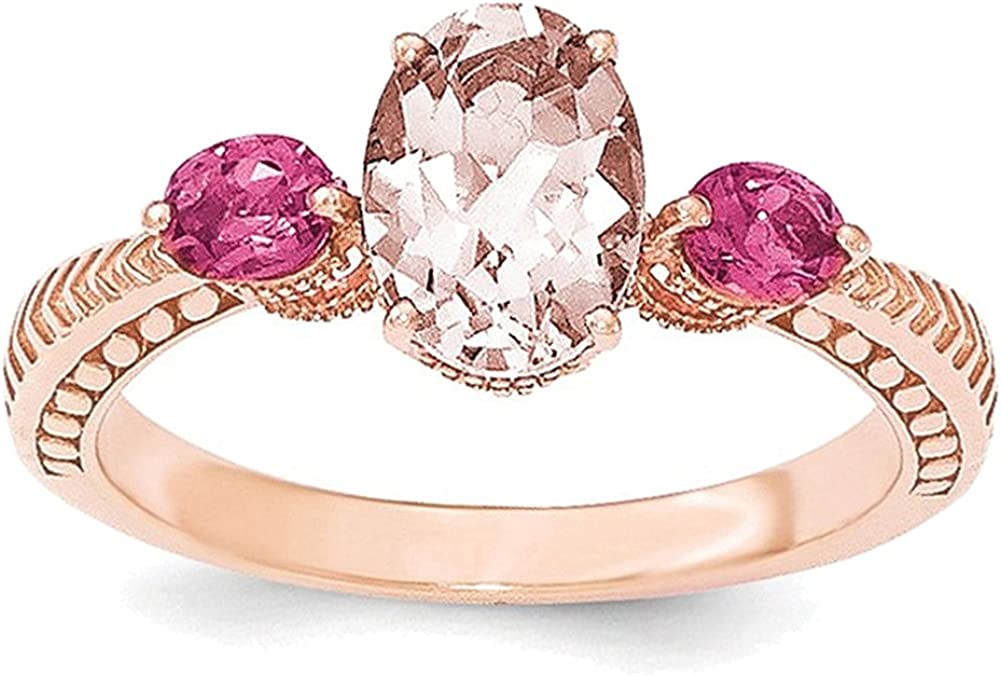 Lex /& Lu Sterling Silver Rose Gold-plated Morganite /& Tourmaline Ring