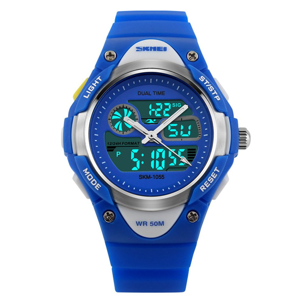Kids Watch, Analog Digital Display Outdoor Sports Waterproof Alarm Stopwatch with Silicone Band Led Dress Watches for Boy Children Gift - Blue