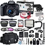 Canon EOS Rebel T7i DSLR Camera Bundle with Canon EF-S 18-55mm f/4-5.6 is STM Lens + Professional Video Accessory Bundle Includes ECKO Headphones, Microphone, LED Video Light and More. (27 Items) For Sale