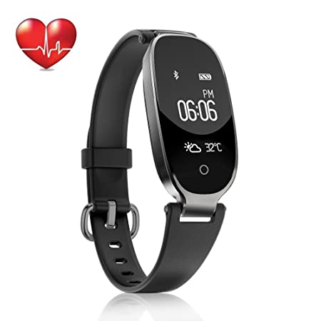 TOP-MAX Fitness Tracker Waterproof Watch for Women Activity Pedometer Tracker with Calorie Step Counter Sleep Monitor Heart Rate Monitor Sedentary Reminder