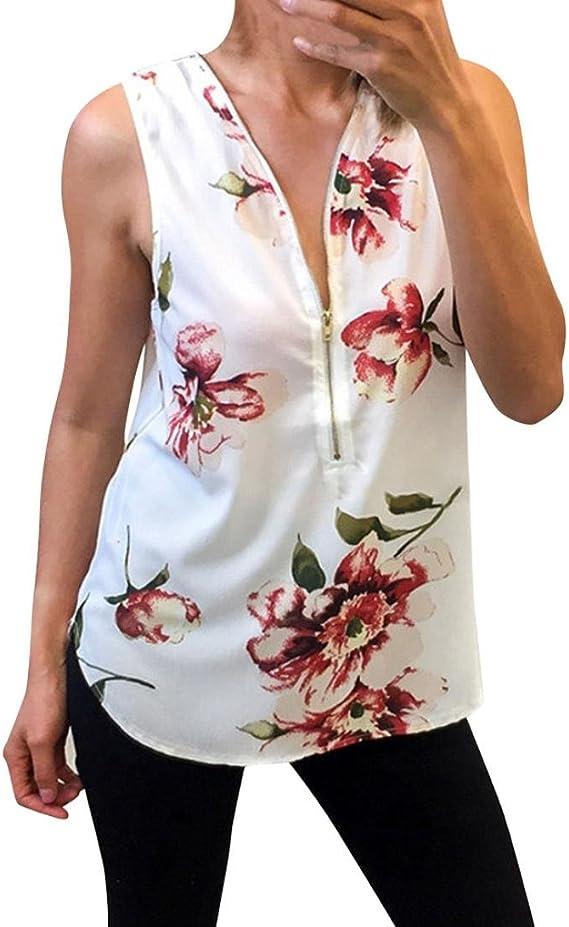 Ropa De Mujer Blusa con Cremallera Floral para Mujer Chaleco Top Ladies Casual Camisetas Sin Mangas Tops Blusa de Mujer Verano Blusas Mujer Tallas Grandes Blusa Mujer Manga Corta Mujer: Amazon.es: Ropa