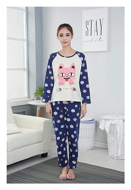 HAOLIEQUAN Pijama De Las Mujeres Conjuntos De 2 Piezas Otoño Invierno Franela Dibujos Animados Pijamas Calientes