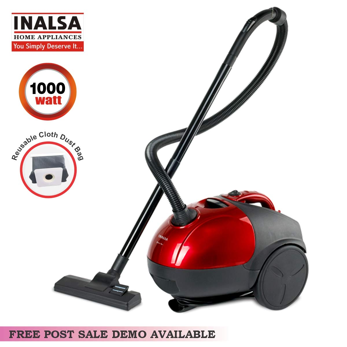INALSA Vacuum QUICKVAC-1000W with 1.5L Washable Cloth Filter Bag, 100% Copper Motor, Powerful 16KPA Suction, Easy Movement, Dust Bag Full Indicator, Cord Winder, (Red/Black)