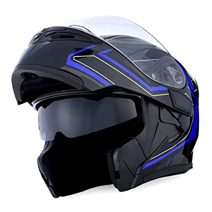 56e9d26d Amazon.com: 1Storm Motorcycle Modular Full Face Helmet Flip up Dual Visor  Sun Shield: HB89 Arrow Blue: Automotive