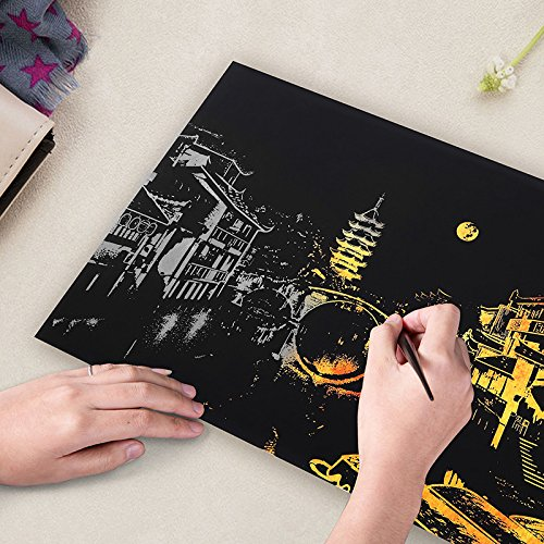 Lanlan Scratch Off Bright City Theme DIY Drawing Picture Wall Painting Scratch Card Decor Creative Gifts - Bruce Lee Sunglasses