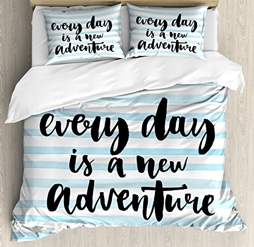 Adventure Queen Size Duvet Cover Set by Ambesonne, Every Day is a New Adventure Quote Inspirational Things About Life Artwork, Decorative 3 Piece Bedding Set with 2 Pillow Shams, Baby Blue Black by Ambesonne