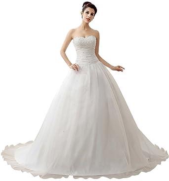 6234ce7fb99a Edith qi Women's Elegant Sweetheart Strapless Ball Gown Chapel Train Wedding  Dress at Amazon Women's Clothing store: