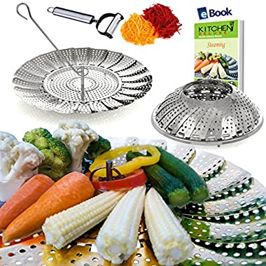 Vegetable Steamer Basket Large - 100% Premium Stainless Steel - Bonus 2 in 1 Julienne Veg Peeler, Hook Insert & Cooking eBook – Steam Rice in an Instant – Use as Fruit Bowl - Kitchen Gift - 6.4 -10.3