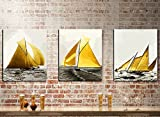 MADE4U [ 3 Pieces Split Series 2 ] [ 20'' x 3 ] [ Thicker (1'') ] [ Wood Framed ] Paint by Numbers Kit with Brushes and Paints (Sailboat) CRGP45