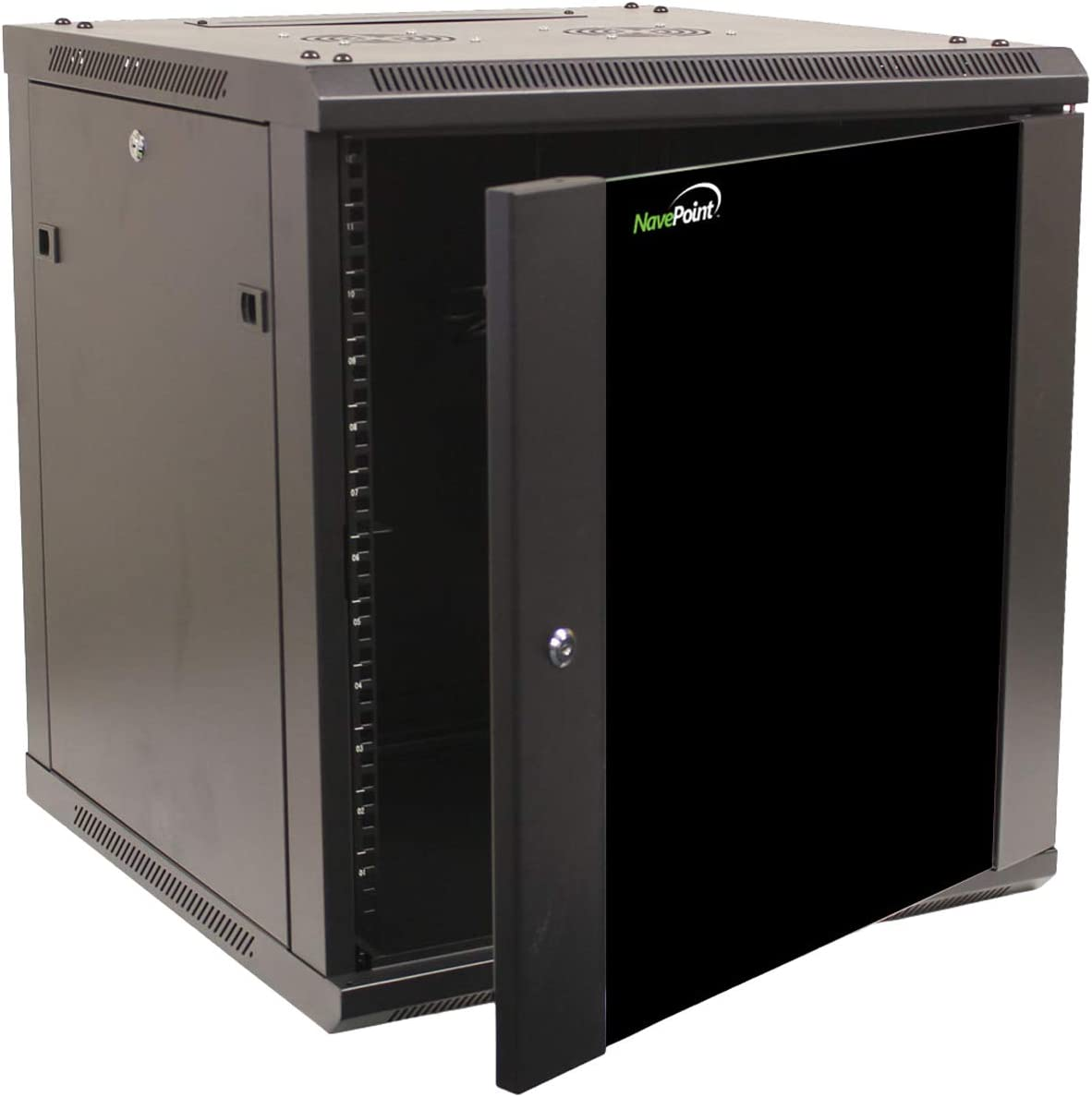 NavePoint 12U Wall Mount Network Server 600mm Depth Cabinet Rack Enclosure Glass Door Lock