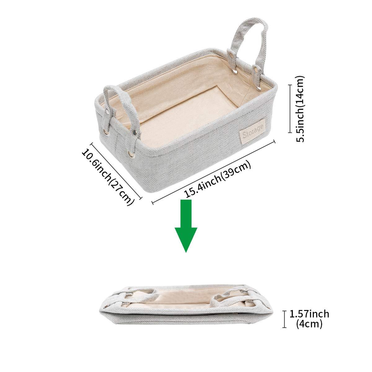 LUFOFOX/Storage Basket/Rectangular Collapsible Grey Storage Bin Organizer with Handle/for/Clothes/Storage,11.4x7.5x4 inches