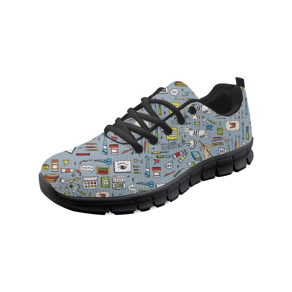 Showudesigns Lace Up Jogging Sport Shoes Women's Running Walking Flats Sneaker Fine Art Print