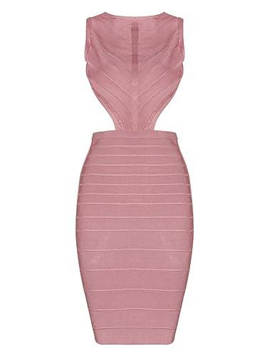 Alice & Elmer Women's Rayon Sleeveless Backless Scoop Neck Bandage Dress