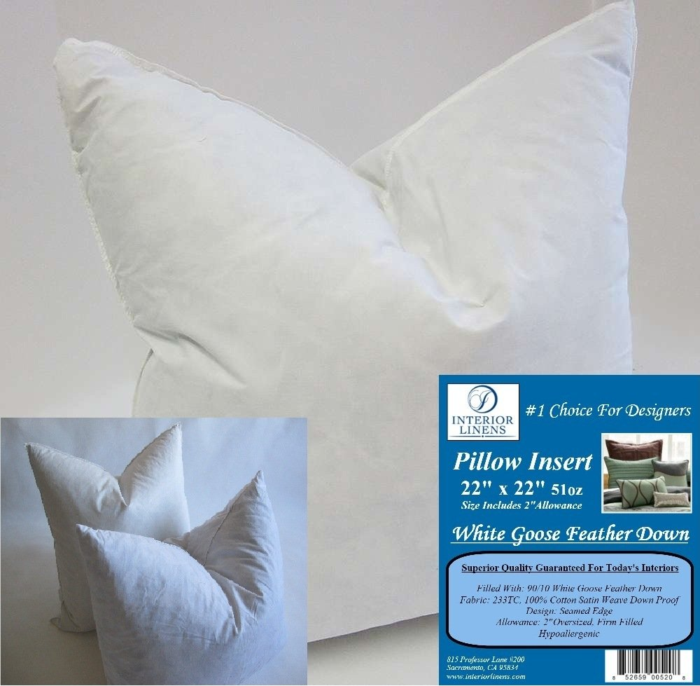 2 Pillow Inserts: 22''x22'' 51oz. 90/10 White Goose Feather Down - 2'' Oversized & Firm Filled (Actual Size: 24''x24'')