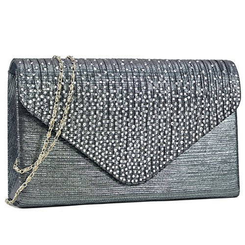 Womens Envelope Flap Clutch Handbag Evening Bag Purse Rhinestone Crystal Glitter Sequin Party (Silver Gray Bag)