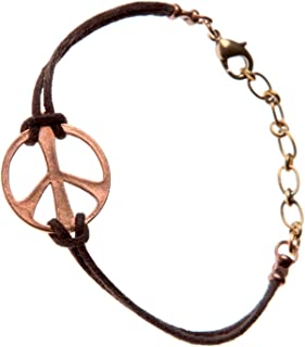 product image for Medium Peace Symbol Peace Bronze Adjustable Cord Bracelet