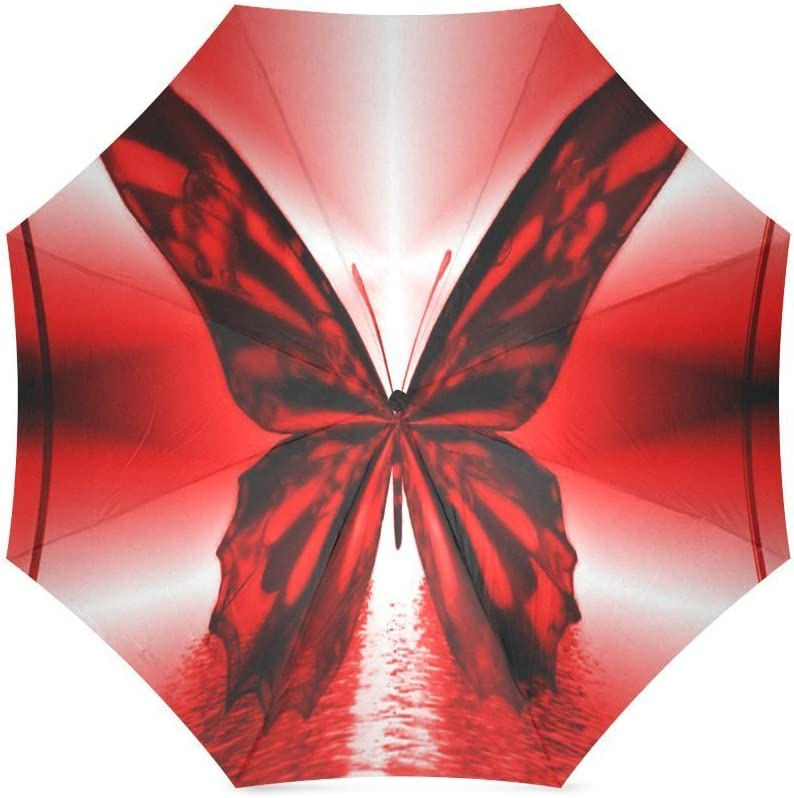 ZLFのLOVE Customized Red Butterfly Foldable Umbrella