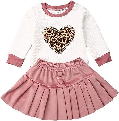 2 Piezas Traje de Camiseta Manga Larga Falda para Bebé Niña Pequeña Conjunto Top Camisa de Cuello Redondo con Patrón de Corazón Estampado de Leopardo Falda Rosa Sudadera sin Capucha: Amazon.es: Ropa