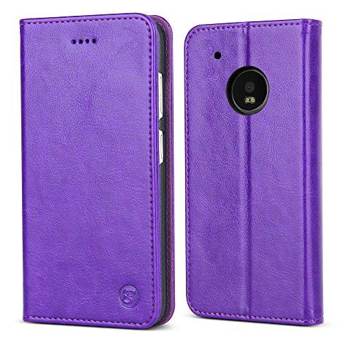 Moto G5 Plus Case  Belk Elegant Retro Premium Scratch Resistant Leather With Card   Cash Slots Hidden Magnetic Kickstand Function Slim Flip Wallet Case For Motorola Moto G5 Plus 2017   Purple