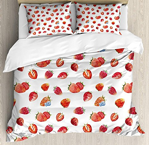 - Watercolor 4 Piece Bedding Set Queen Size, Artful Pattern Ripe Strawberries Blueberries Tasty Fresh Fruits, Duvet Cover Set Quilt Bedspread for Childrens/Kids/Teens/Adults, Vermilion Green Slate Blue