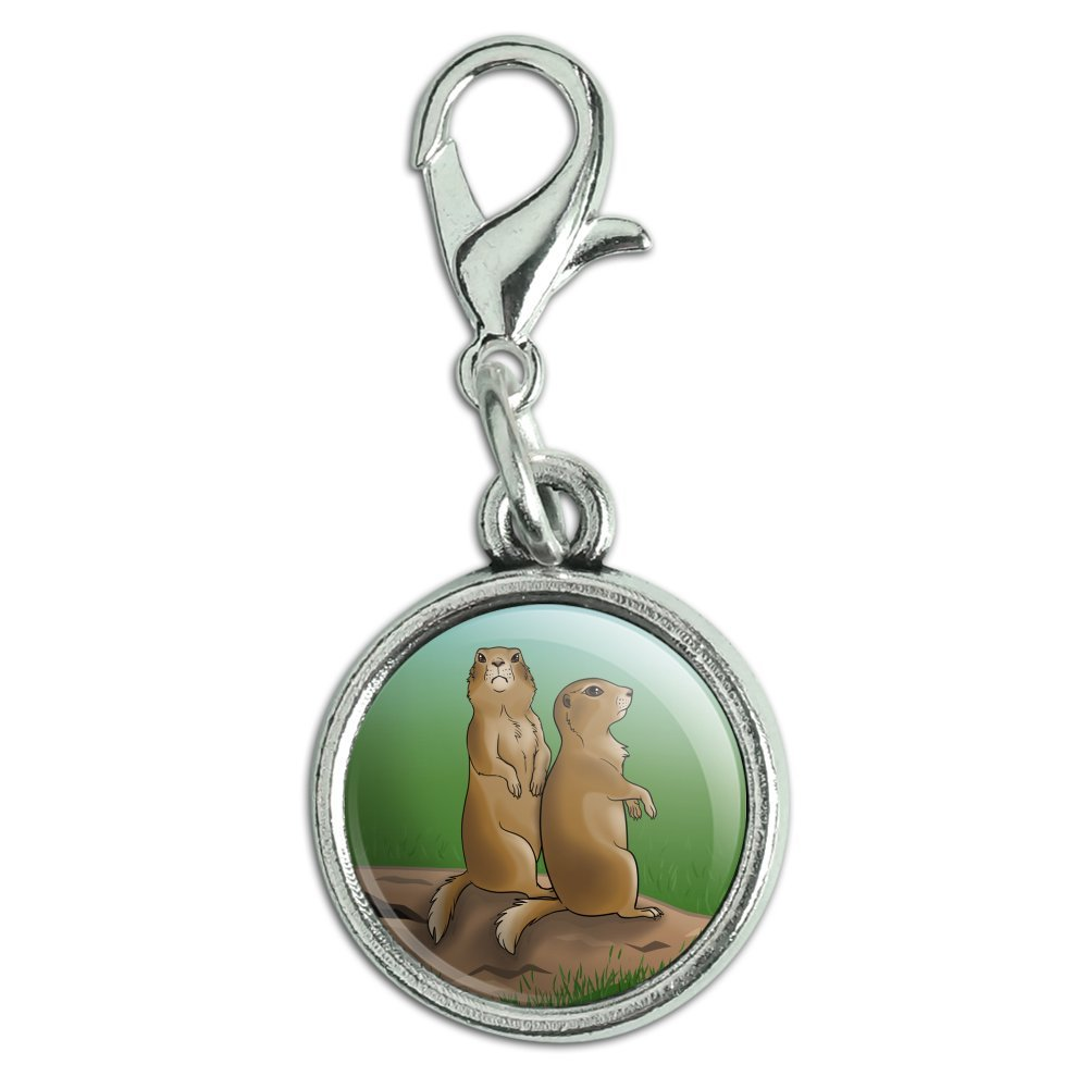 GRAPHICS /& MORE Pair of Prairie Dogs Antiqued Bracelet Pendant Zipper Pull Charm with Lobster Clasp