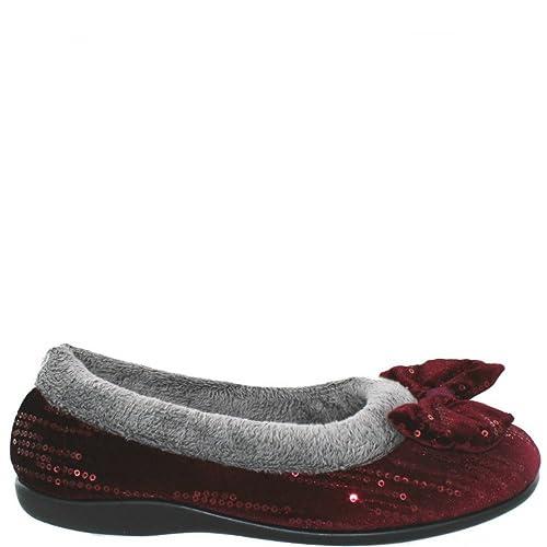 Sleepers Bessie Mujer Terciopelo Lazo Borde Cuello Zapatillas, Color Rojo, Talla 42: Amazon.es: Zapatos y complementos