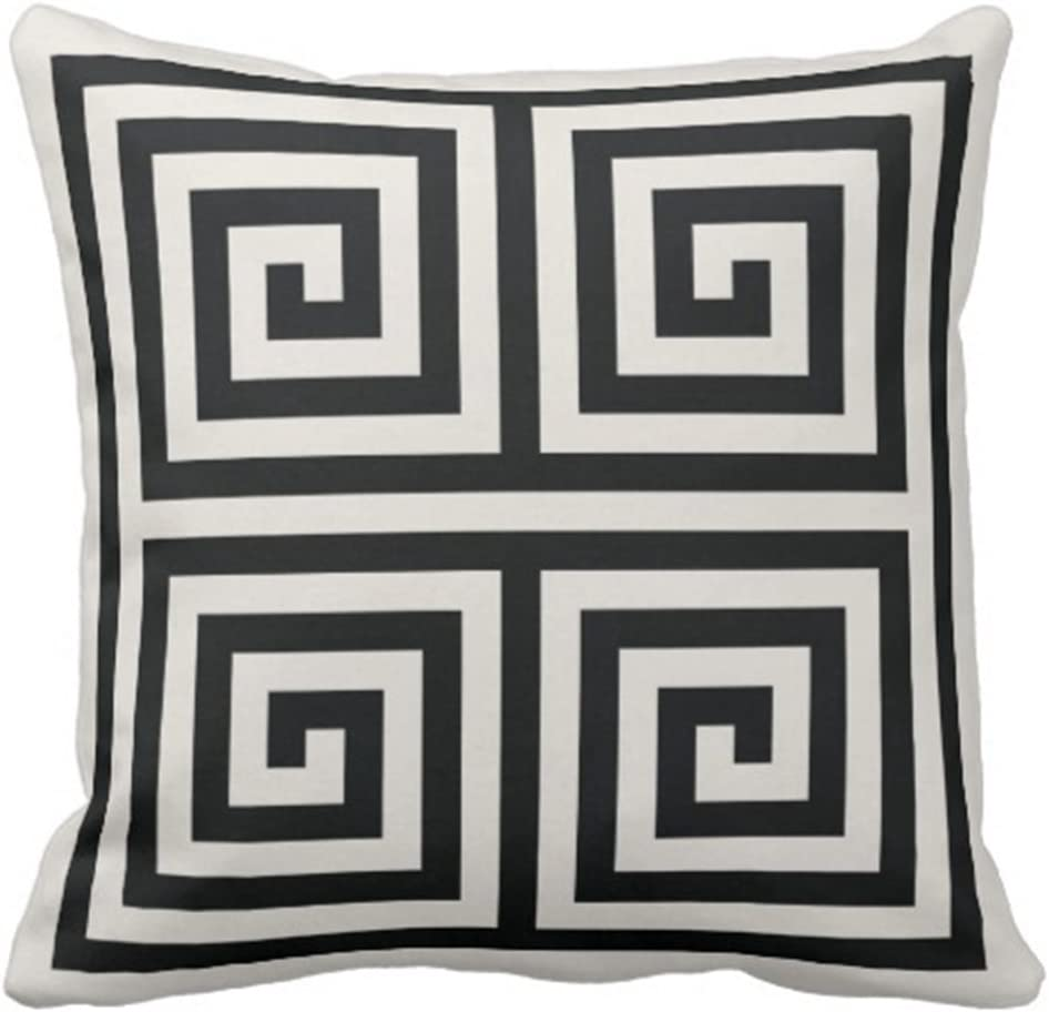 antoipyns Throw Pillow Cover Cute Bold Chic Black and White Greek Key Geometric Stripes Modern Decorative Pillow CASE Home Decor Square 18 X 18 INCH Pillowcase