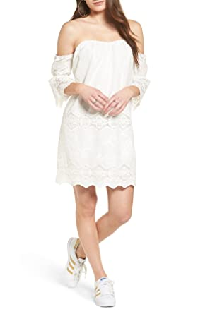 e035873d1365 Image Unavailable. Image not available for. Color  ASTR the Label  Embroidered Off The Shoulder Shift Dress