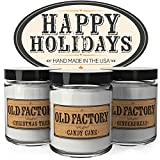 Scented Candles - Happy Holidays - Set of 3: Christmas Tree, Candy Cane, and Gingerbread - 3 x 4-Ounce Soy Candles