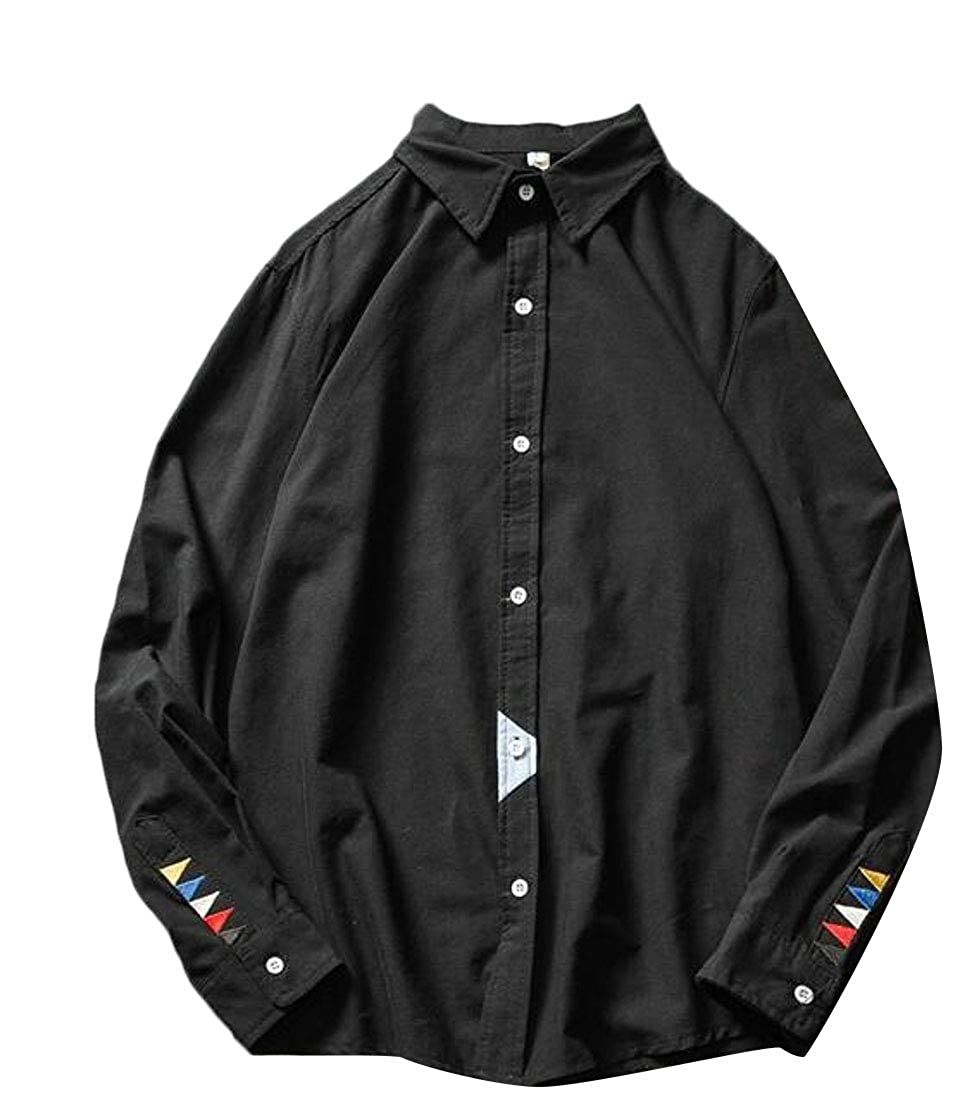 Suncolor8 Men Plus Size Button Down Loose Long Sleeve Embroidery Button Up Dress Work Shirt