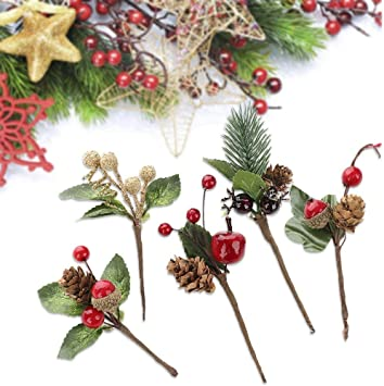 Artificial Pine Pick Artificial Pine Tree Decorations Fake Pinecone Red Berries Branches for Christmas Flower Arrangements Wreaths and Holiday Decorations 20 Pieces