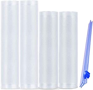 Vacuum Sealer Bags Rolls for Food Saver, BPA Free Heavy Duty Food Storage Bags with Cutter for Vac storage, Seal a Meal, Meal Prep or Sous Vide, 2 Packs 8